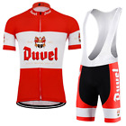 NEW Mens red cycling jersey kit Belgium duvel beer riding Short Sleeve cycling
