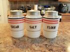 Hazel Atlas Salt Flour Sugar Barrel Range Shakers w/Stripes
