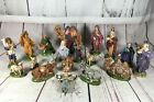 VTG 19pc NATIVITY SET ATLANTIC MOLD HAND PAINTED CERAMIC USA CHRISTMAS