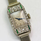 Antique 18K White Gold  Platinum Diamond Emerald Elgin Wristwatch ca1927
