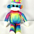 Ty Beanie Buddies Rainbow Sock Monkey 17 Inch Tie Dyed Multicolor 2012 Adorable