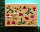 DRAGONFLY BUTTERFLY LADYBUG Background Rubber Stamp by Stamp Craft