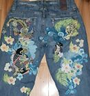 Marlow jeans Vintage Embroidered Asian Print Tiger Floral Flare Womens Sz 26 3