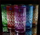 Bohemian Colored Crystal Water Glasses 16 cm 300 ml Memfis 6 pc New