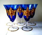 5 Old Vtg WINE GLASES Cobalt Blue Czech Bohemian art glass gold Gilt w red jewel