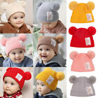 Toddler Baby Boy Girl Kids Winter Beanie Hat Earflap Warm Crochet Knit Ball Cap
