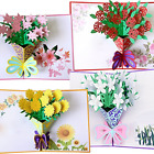 Flower Pop Up Cards 3d Greeting Card Assorted Flowers Envelope All Occasion Gift