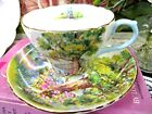 SHELLEY tea cup and saucer WOODLAND teacup pattern flowers trees lake scene