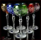 Bohemia Colored Crystal Wine Glasses 21 cm 220 ml Jasmine DeLuxe 6 pc New