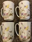 Nature Garden Society Fine China Floral Butterfly Tea Cup Lot Of 4 Vintage 1975