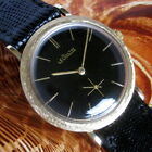 Mens 1950s Jaeger LeCoultre 14K SOLID GOLD Black Dial K480 CW Swiss 17j Watch