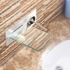 US Wall Mount Glass Waterfall Spout Bathtub Sink Brushed Nickel Mixer Faucet Tap
