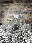 Vintage Indiana Glass Diamond Point Pattern Pitcher w/ 6 Flat Tumblers