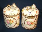 French Sevres Type Trinket Boxes Jars w Hand Painted Florals  Flower Finials