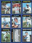 1971 Topps Baseball High Numbers = Mid Grade = 9 Diff Cards = K C Royals Team
