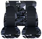 SI Car Seat Covers Front & Rear  Fits Wrangler 87-95 Gray camouflage with name