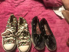 Converse All Stars Girls Size 2 Polka Dot Sneakers Sperry Top Sider Black X2