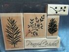 stampin up PEACEFUL WISHES pine leaf pine cone mistletoe berries lot + card