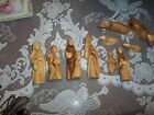 Vintage Nativity WOOD HAND CARVED WITH NO FACE SET