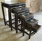 VINTAGE ORIENTAL ASIAN NESTING TABLES Mother of Pearl Black Lacquer  Glass Top