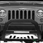 Topline For 2010 2018 Jeep Wrangler JK AVT Aluminum LED Bull Bar Matte Blk Skid