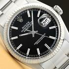 ROLEX MENS DATEJUST BLACK DIAL 18K WHITE GOLD STAINLESS STEEL WATCH OYSTER BAND