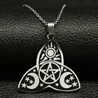New Wicca Sun Star Moon Stainless Steel Necklaces Silver Chain Necklace