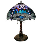 Tiffany Style Handcrafted Stained Glass Blue Dragonfly Table Lamp