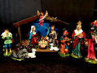 Vintage Japan Paper Mache Nativity Set 13 pc Light Up Music Box Works