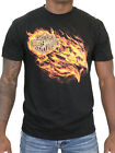 Harley Davidson Mens Blazing Flames Eagle Black Short Sleeve Biker T Shirt