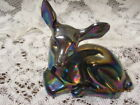 FENTON ART GLASS 1983 AMETHYST CARNIVAL GLASS FAWN DEER FIGURINE UNDECORATED