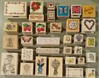 Floral Summer Wood Mounted Rubber Stamps lot of 33 Mostly New