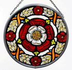 Decorative Hand Painted Stained Glass Window Sun Catcher Roundel in a Tudor Rose