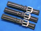 18mm Black Genuine Leather White Black Yellow Stitched Watch Band Silver Buckle