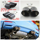 Pair Glossy Bent Straight Angle Carbon Fiber Car Dual Exhaust Pipe Tail Muffler