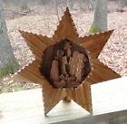 Unusual Wooden Nativity Scene Star Shaped w Stand Mary Joseph Baby Jesus Star