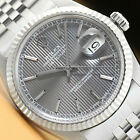 ROLEX MENS DATEJUST GRAY TAPESTRY DIAL 18K WHITE GOLD & STEEL QUICKSET WATCH