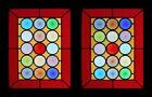 Amazing Colours French Rondels Pair Stained Glass Windows