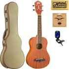 Oscar Schmidt OU2 Concert All Mahogany Ukulele Tweed Case Bundle