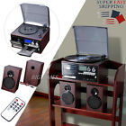 Stereo Turntable Vinyl Record Player with LCD Display Speakers Bluetooth Remote