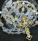 WEDDING LASSO GLASS CRYSTAL GOLD CROSS LAZO DE BODA BRIDAL CRYSTALS ROSARY ROPE