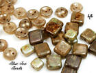 BFB BIN BARGAINS Czech Pressed Glass Beads Tile Caps DESERT PICASSO MIX 40pc