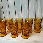 Vintage Indiana Amber Glasses Whitehall Cubist Goblets Footed set of 8 6