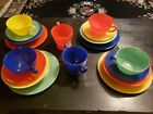 18 Pc Vintage Glass Dishes Plates Bowls Cups Saucers Sugar Creamer Bright Colors