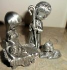 Miniature Precious Moments Pewter Nativity Set Come Let Us Adore Figurine Enesco