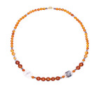 Handmade beads with beads of amber pink opal and glass beads