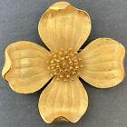 VINTAGE DOGWOOD FLOWER BROOCH DESIGNER TRIFARI WITH CROWN COSTUME JEWELRY PIN