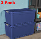 Plastic Storage Containers Large Blue 50 Gallon Stacking Bin Box Tote Pack of 3