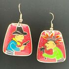 Enamel Cowboy Indian Earrings Edgar Berebi Red Gunslinger Mohawk Native American
