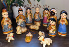 Vintage Mexican Clay Pottery Hand Painted Nativity Scene 14 Piece Set